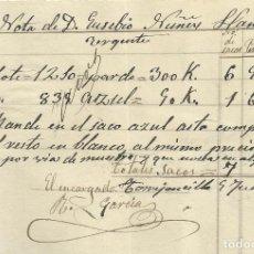 Manuscritos antiguos: EUSEBIO NÚÑEZ LLANOS. TORREJONCILLO (CÁCERES). FÁBRICA DE PAÑOS. 1907. CARTA A A. BADÍA. SABADELL.. Lote 217886006