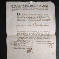 Manuscritos antiguos: CARTA DE PAGO CONSEJERO SU MAJESTAD AÑO 1778 D. BLAS ANTONIO GONZÁLEZ. CATASTRO SIGLO XVIII. Lote 218021933
