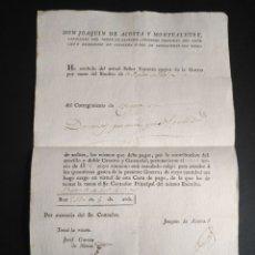 Manuscritos antiguos: CARTA DE PAGO GASTOS GUERRA INDEPENDENCIA 1813 CATALUÑA CABALLERO DE SANTIAGO. Lote 218023005