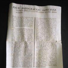 Manuscritos antiguos: BANDO INDULTOS ROBOS IGLESIAS Y RECOMPENSA 3000 REALES VELLON REAL AUDIENCIA CATALUÑA 1830 S. XIX. Lote 218233690