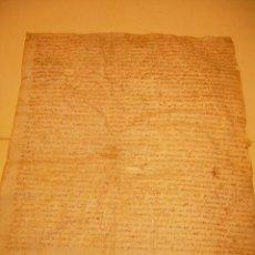 Manuscritos antiguos: ESCRITURA PERGAMINO MEDIEVAL CATALUÑA..1464 ? POBLACION DE AMER....VER FOTOS.. Lote 218723175