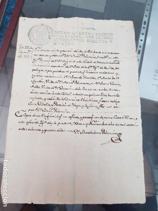 ANTIGUO DOCUMENTO MANUSCRITO CERTIFICADO MATRIMONIO JEREZ DE LA FRONTERA CADIZ S. XVIII 1784 (Coleccionismo - Documentos - Manuscritos)