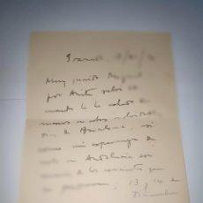 Manuscritos antiguos: CARTA MANUSCRITA DE MANUEL DE FALLA A MIGUEL LLOBET. Lote 219344281