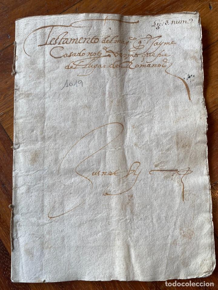 Manuscritos antiguos: TESTAMENTO DEL NOTARIO JAIME CASADO DE ROMANOS 1594. FIRMA NOTARIAL.ALDEA CIUDAD DE DAROCA. - Foto 2 - 219413902