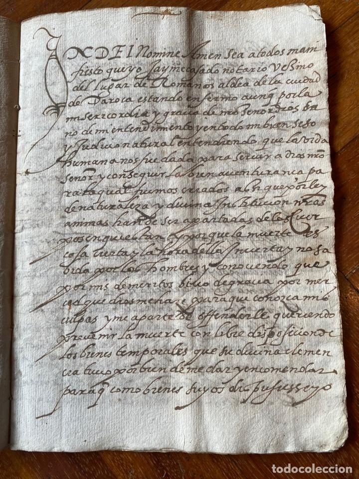 Manuscritos antiguos: TESTAMENTO DEL NOTARIO JAIME CASADO DE ROMANOS 1594. FIRMA NOTARIAL.ALDEA CIUDAD DE DAROCA. - Foto 4 - 219413902