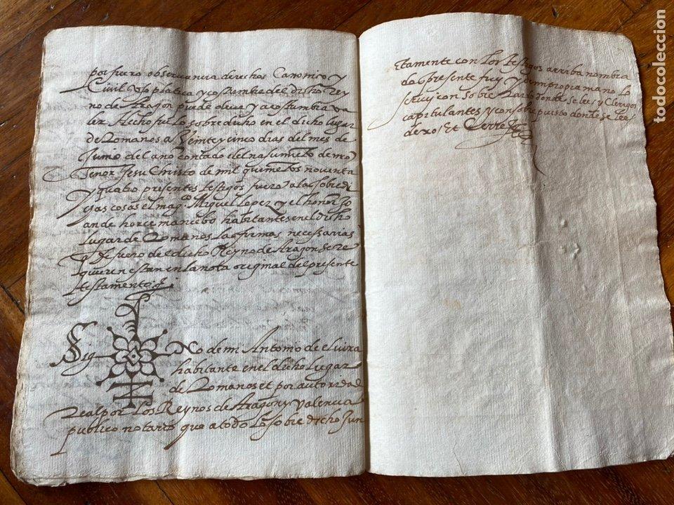 Manuscritos antiguos: TESTAMENTO DEL NOTARIO JAIME CASADO DE ROMANOS 1594. FIRMA NOTARIAL.ALDEA CIUDAD DE DAROCA. - Foto 8 - 219413902