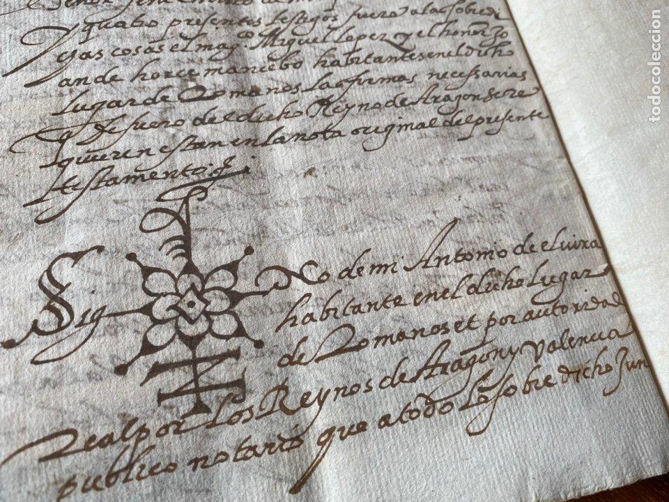 TESTAMENTO DEL NOTARIO JAIME CASADO DE ROMANOS 1594. FIRMA NOTARIAL.ALDEA CIUDAD DE DAROCA. (Coleccionismo - Documentos - Manuscritos)