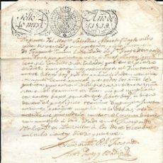 Manuscritos antiguos: PAPEL TIMBRADO 1819 SELLO 4º 40 MRS. EPOCA DE FERNANDO VII. Lote 219631267