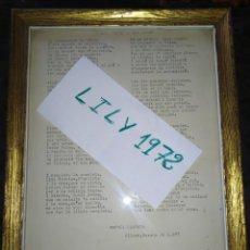 Manuscritos antiguos: INÉDITA POESÍA POETA RAFAEL LLABATA CARRIÓ AVUI ESTIC DE BON HUMOR OLIMAR CHIVA VALENCIA 1977 ÚNICA?. Lote 219705225