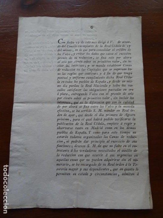 IMPRESO 1799, VALES REALES PREMIO DE REDUCCIÓN (Coleccionismo - Documentos - Manuscritos)