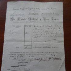 Manuscritos antiguos: TESORERÍA DE SEGOVIA, 1852, RECIBO COMPRA VIÑAS ALDEA DEL REY, HOY ALDEA REAL. Lote 219727996