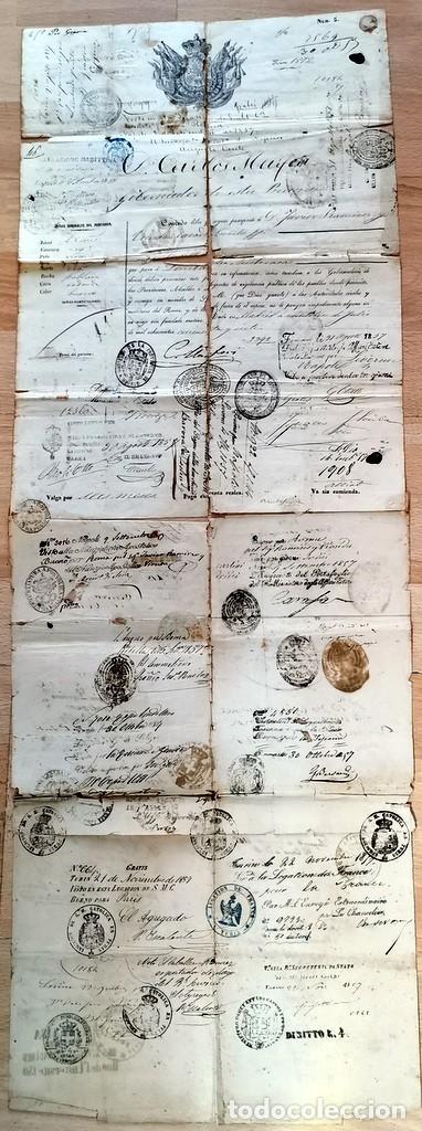 MADRID, 1857, ESPECTACULAR PASAPORTE FIRMADO POR CARLOS MARFORI, GOBERNADOR, AMANTE DE ISABEL II (Coleccionismo - Documentos - Manuscritos)