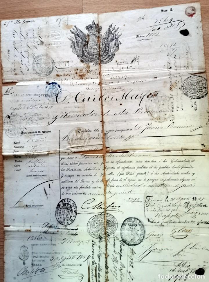 Manuscritos antiguos: MADRID, 1857, ESPECTACULAR PASAPORTE FIRMADO POR CARLOS MARFORI, GOBERNADOR, AMANTE DE ISABEL II - Foto 2 - 219963495