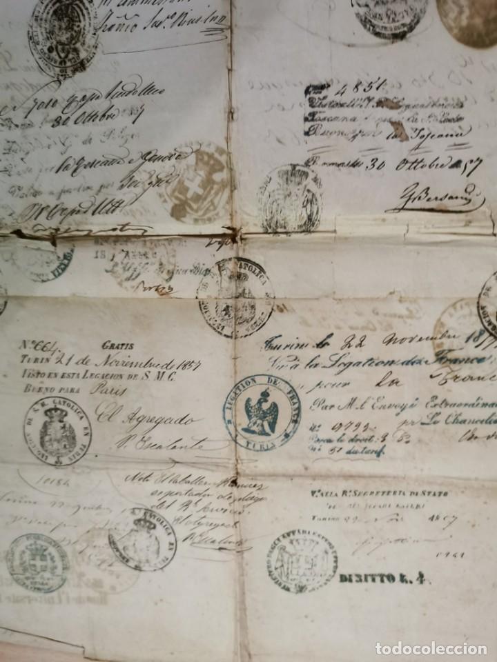 Manuscritos antiguos: MADRID, 1857, ESPECTACULAR PASAPORTE FIRMADO POR CARLOS MARFORI, GOBERNADOR, AMANTE DE ISABEL II - Foto 5 - 219963495