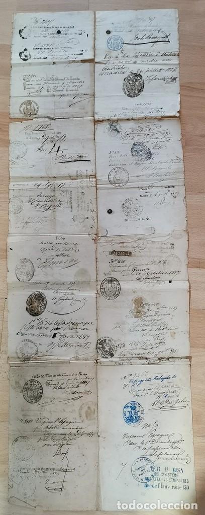 Manuscritos antiguos: MADRID, 1857, ESPECTACULAR PASAPORTE FIRMADO POR CARLOS MARFORI, GOBERNADOR, AMANTE DE ISABEL II - Foto 6 - 219963495