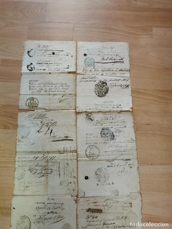 Manuscritos antiguos: MADRID, 1857, ESPECTACULAR PASAPORTE FIRMADO POR CARLOS MARFORI, GOBERNADOR, AMANTE DE ISABEL II - Foto 9 - 219963495