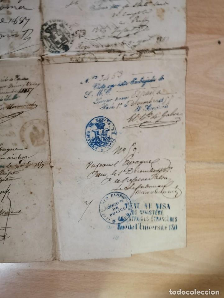 Manuscritos antiguos: MADRID, 1857, ESPECTACULAR PASAPORTE FIRMADO POR CARLOS MARFORI, GOBERNADOR, AMANTE DE ISABEL II - Foto 10 - 219963495