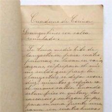 Manuscrits anciens: ANTIGUO CUADERNO MANUSCRITO CON RECETAS DE COCINA. AÑO 1915. Lote 220237538