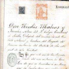 Manuscritos antiguos: 1874 JEREZ FRONTERA, COBRECES (CANTABRIA) SELLO FISCAL 3º 25 PTS TESTAMENTO ANDREA RUIZ DE LOS RIOS. Lote 220290982