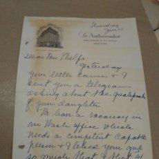 Manuscritos antiguos: CARTA MANUSCRITA CON FIRMA DE LA ENFERMERA MARGARET SANGER, CONTROL DE NATALIDAD, ABORTO. AMBASSADOR. Lote 221928066