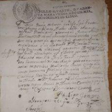 Manuscritos antiguos: DOCUMENTO MANUSCRITO DE 1805 CON SELLO CUARTO DE CUARENTA MARAVEDIES DE CARLOS IV. Lote 221957350