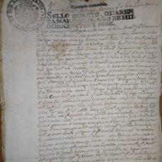Manuscritos antiguos: DOCUMENTO MANUSCRITO DE 1810, CON SELLO CUARTO DE CUARENTA MARAVEDIES DE FERNANDO VII.. Lote 221958116