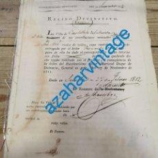 Manuscritos antiguos: SEVILLA, 1812, PAGO CONTRIBUCION CASTILLEJA DE LA CUESTA,FIRMA TESORERO DEL EJERCITO IMPERIAL. Lote 221995311