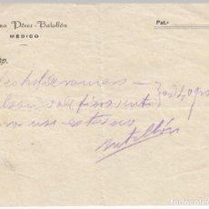 Manuscritos antiguos: SARRIA (LUGO) RECETA DEL MEDICO CASIANO PEREZ BATALLON. Lote 222496380