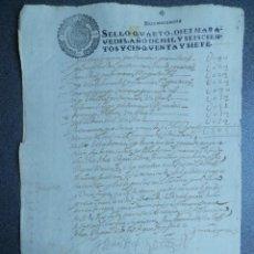 Manuscritos antiguos: MANUSCRITO AÑO 1657 FISCAL 4º LUJO - TIMBROLOGÍA. Lote 222715058