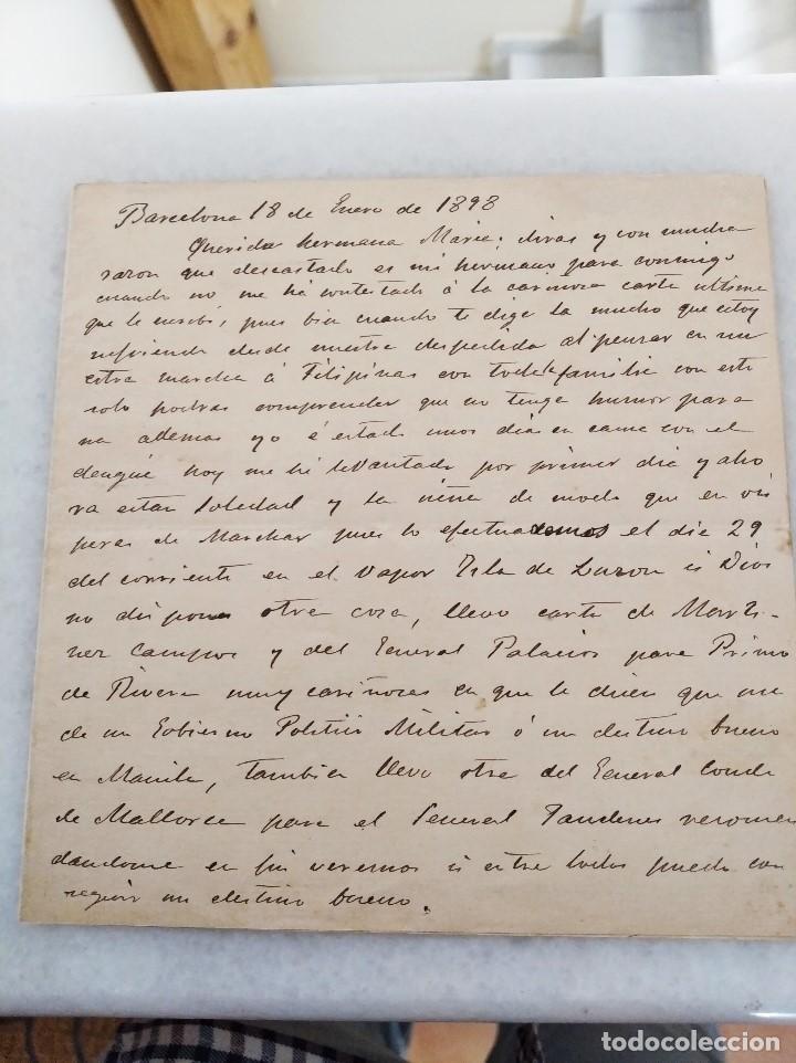 FILIPINAS. CARTA FAMILIAR, MARCHA A FILIPINAS CON CARTA DE RECOMENDACION DEL GEN MARTINEZ CAMPOS. (Coleccionismo - Documentos - Manuscritos)