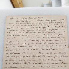 Manuscritos antiguos: FILIPINAS. CARTA FAMILIAR, MARCHA A FILIPINAS CON CARTA DE RECOMENDACION DEL GEN MARTINEZ CAMPOS.. Lote 222732782