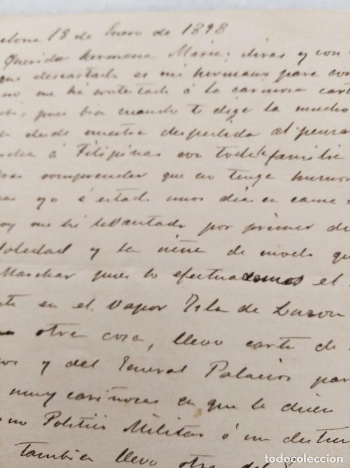 Manuscritos antiguos: FILIPINAS. CARTA FAMILIAR, MARCHA A FILIPINAS CON CARTA DE RECOMENDACION DEL GEN MARTINEZ CAMPOS. - Foto 2 - 222732782