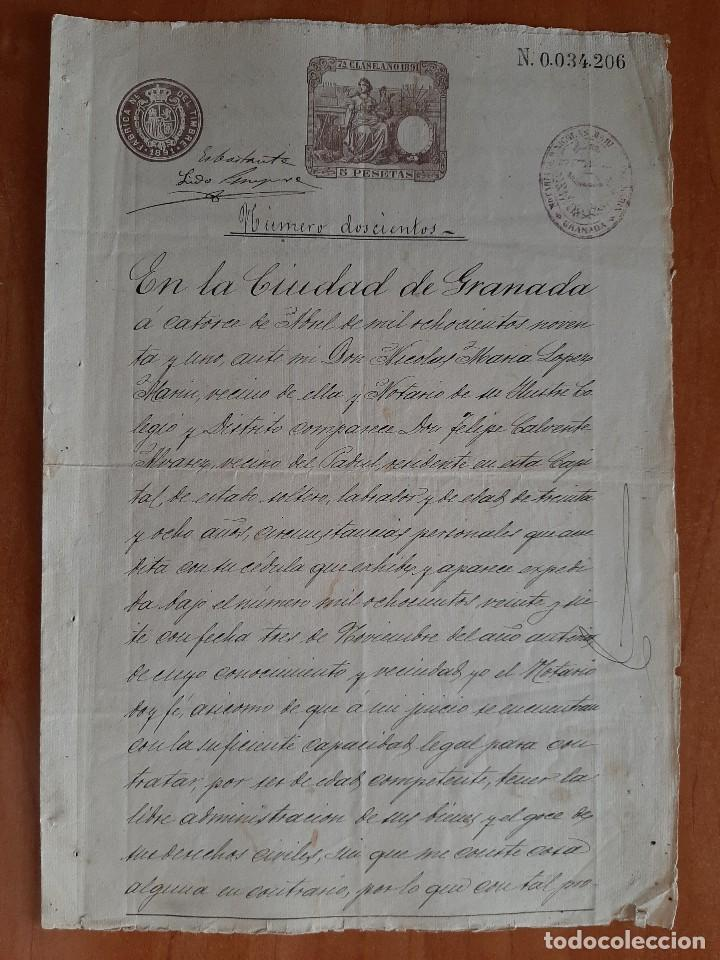 1891 DOCUMENTO JURÍDICO - GRANADA / DOS SIGNUM (Coleccionismo - Documentos - Manuscritos)