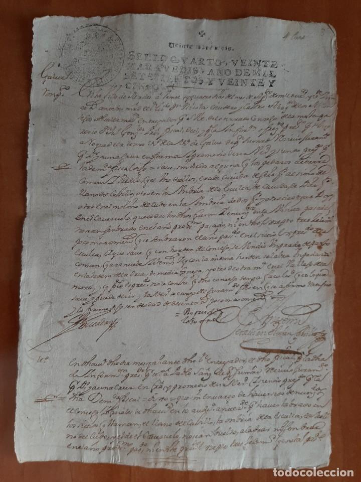 1725 HOJA CON DECLARACIONES Y FIRMAS - MIEDES ? GALVEZ ? (Coleccionismo - Documentos - Manuscritos)