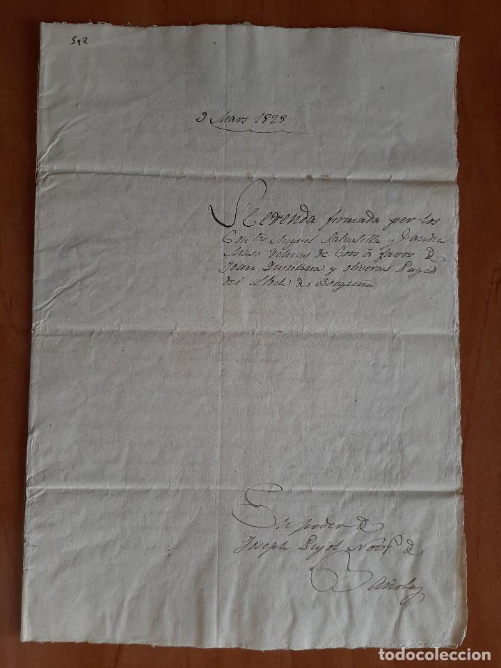 1828 VENTA - BORGUNYÁ / NOTARÍA BAÑOLAS (Coleccionismo - Documentos - Manuscritos)