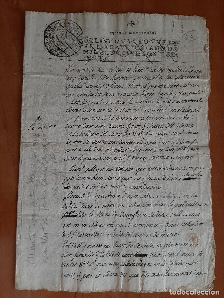 1829 BORRADOR ÚLTIMAS VOLUNTADES - BARCELONA (Coleccionismo - Documentos - Manuscritos)