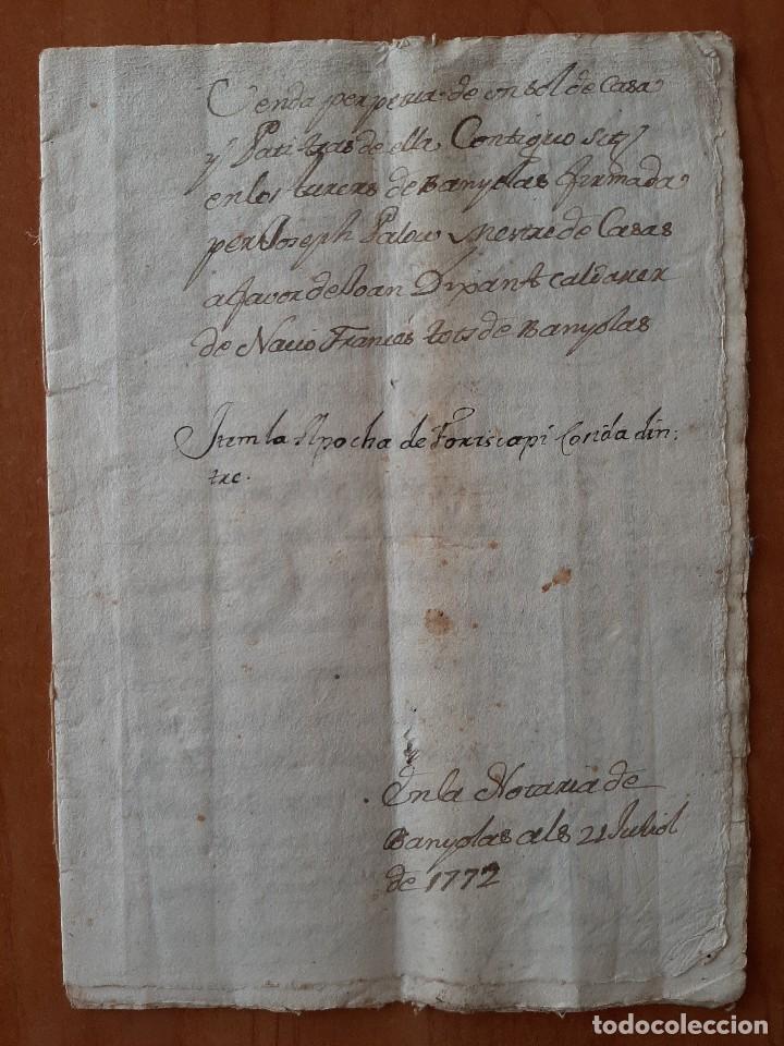 1775 VENTA PERPÉTUA - BANYOLAS / EN CATALÁN (Coleccionismo - Documentos - Manuscritos)