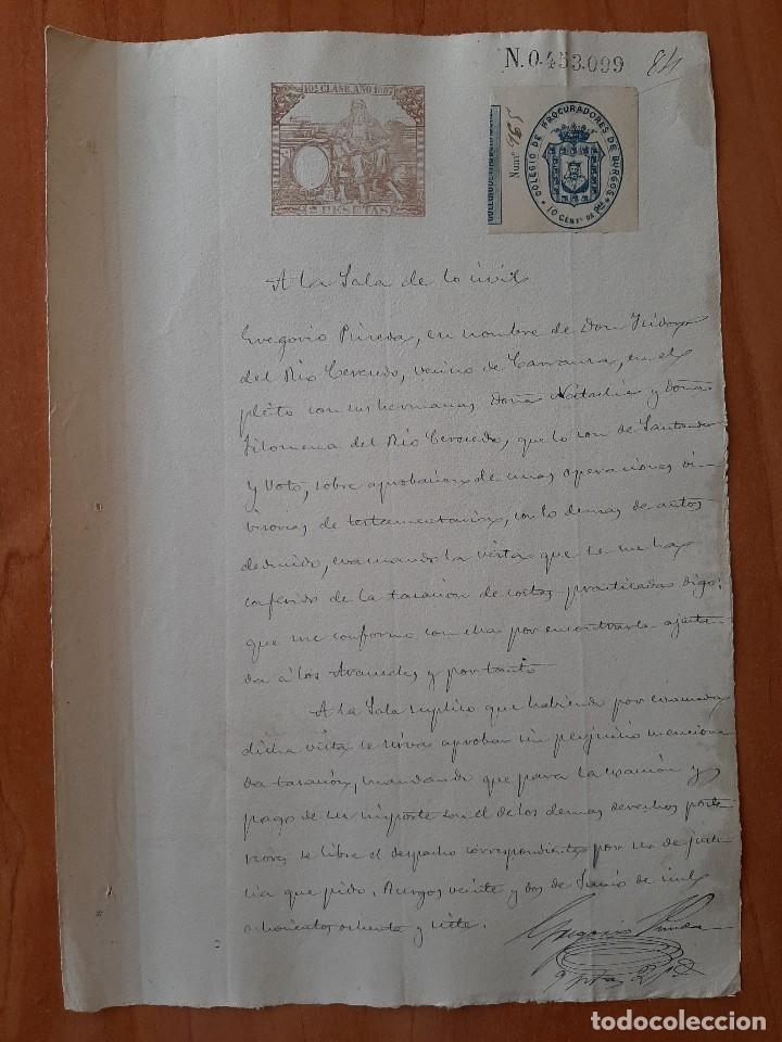 1887 DOCUMENTO FIRMADO EN BURGOS SALA DE LO CIVIL - SANTANDER (Coleccionismo - Documentos - Manuscritos)