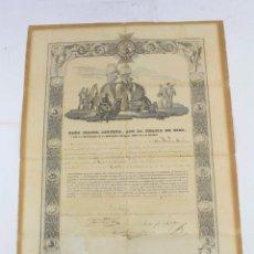 Manuscritos antiguos: ISABEL II, DOCUMENTO MANUSCRITO, NOMBRAMIENTO DE NICOLÁS MORALES A CABALLERO DE LA REAL ORDEN, 1854.. Lote 223580262