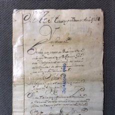 Manuscritos antiguos: DOCUMENTO MANUSCRITO A.1758 GENEALOGÍA Y LIMPIEZA DE SANGRE JUAN TALLAQUE, DE LA VILLA DE TAUSTE. Lote 223626238
