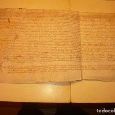 Manuscritos antiguos: ANTIGUA ESCRITURA DE PERGAMINO AÑO 1590 - GERONA - BESALU - VALLE DE OSTOLESIO.. Lote 224073383