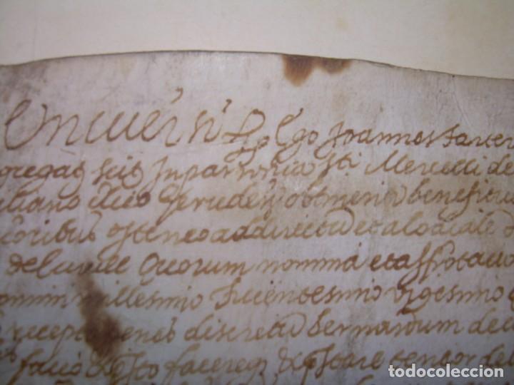 Manuscritos antiguos: ANTIGUA ESCRITURA DE PERGAMINO AÑO 1590 - GERONA - BESALU - VALLE DE OSTOLESIO. - Foto 2 - 224073383