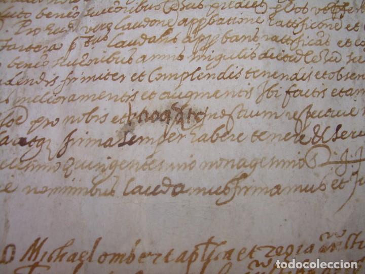 Manuscritos antiguos: ANTIGUA ESCRITURA DE PERGAMINO AÑO 1590 - GERONA - BESALU - VALLE DE OSTOLESIO. - Foto 4 - 224073383