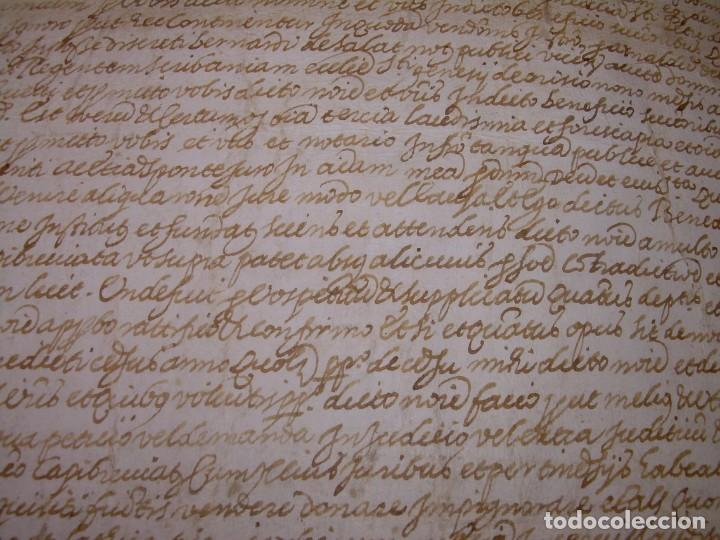 Manuscritos antiguos: ANTIGUA ESCRITURA DE PERGAMINO AÑO 1590 - GERONA - BESALU - VALLE DE OSTOLESIO. - Foto 7 - 224073383