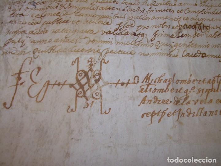Manuscritos antiguos: ANTIGUA ESCRITURA DE PERGAMINO AÑO 1590 - GERONA - BESALU - VALLE DE OSTOLESIO. - Foto 8 - 224073383