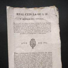 Manuscritos antiguos: REAL CEDULA CONTROL SOBRE IMPRENTAS Y SUS IMPRESIONES PUBLICACIONES ESTAMPAS PERIODICOS 1830 S.XIX. Lote 224152773