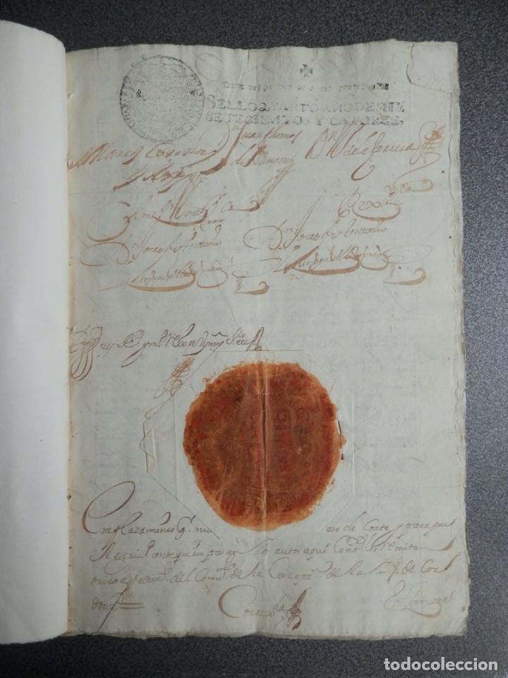 MONTORO CÓRDOBA REAL PROVISIÓN AÑO 1714 SELLO LACRE CANCILLERÍA GRANADA PLEITO HACEÑAS Y BATANES (Coleccionismo - Documentos - Manuscritos)