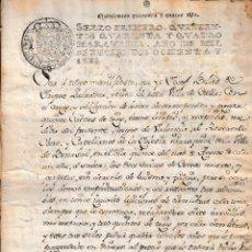 Manuscritos antiguos: 1786 CULLA BENASAL (CASTELLON) FISCAL 1º DE 544 MRS. DOCUMENTO MANUSCRITO PAPEL SELLADO. Lote 224925720