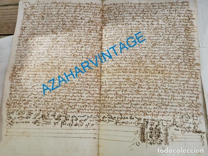 1446, ESPECTACULAR MANUSCRITO VENTA DE UNA HEREDAD (Coleccionismo - Documentos - Manuscritos)