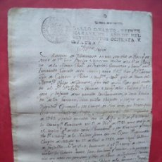 Manuscritos antiguos: MARTIN DE VILLANUEVA.-MANUSCRITO.-SELLO CUARTO.-VEINTE MARAVEDIS.-CARLOS III.-PEDRAZA.-SEGOVIA.-1784. Lote 225055190